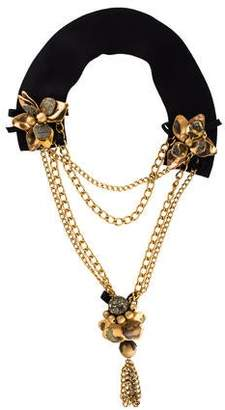 Marni Pyrite & Horn Flower Statement Necklace