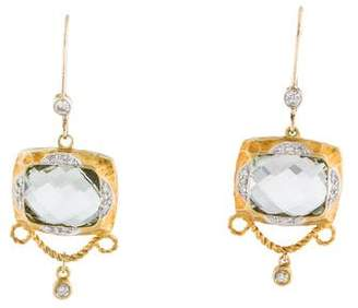 Meira T 14K Prasiolite & Diamond Drop Earrings