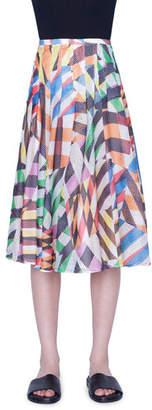 Akris Punto Patchwork Mesh Flounce Skirt
