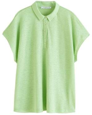 Violeta BY MANGO Button linen-blend t-shirt