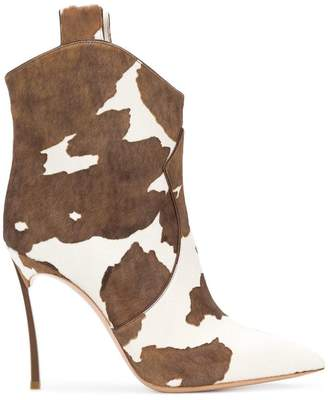 Casadei cow pattern cowboy boots