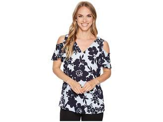 Calvin Klein Cold Shoulder V-Neck Blouse Women's Blouse