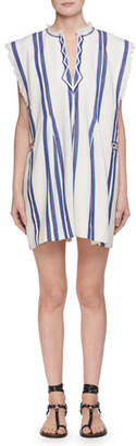 Etoile Isabel Marant Denize V-Neck Striped Cotton Poncho Dress