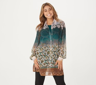 Susan Graver Regular Printed Sheer Chiffon Shirt and Tank Set