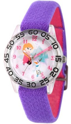 Disney Frozen Olaf and Anna Girls' Clear Plastic Time Teacher Watch, Reversible Purple and Pink Nylon Strap