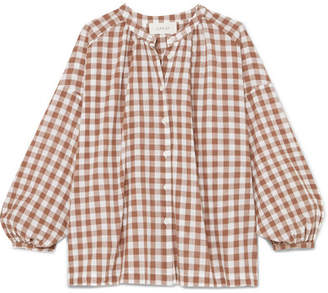 The Great The Handsome Oversized Gingham Cotton-voile Shirt - Brown