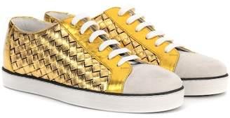 Bottega Veneta Intrecciato leather and suede sneakers