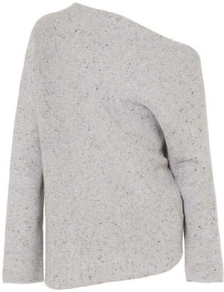 Narciso Rodriguez One-shoulder Wool And Cashmere-blend Sweater - Gray