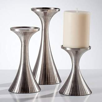 Torre & Tagus Tomar Antique Pewter Ribbed Pillar Holders Set of 3