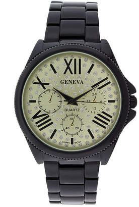 GENEVA Geneva Womens Crystal-Accent Champagne Dial Multifunction-Look Bracelet Watch