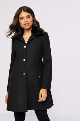 Lipsy Faux Wool Skater Coat With Removable Faux Fur Collar - 8 - Black