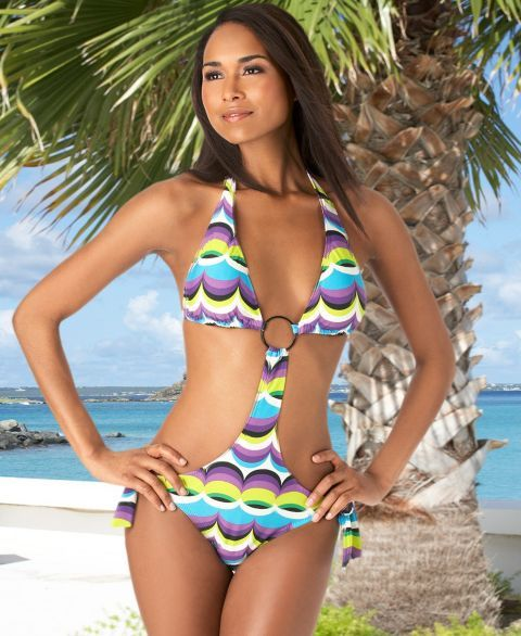 Rampage 60's-Print Cut-Out Style Side-Tie Monokini Swimsuit