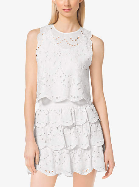 Michael Kors Cropped Eyelet-Embroidered Cotton Top