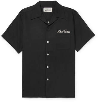 Wacko Maria Camp-Collar Embroidered Tencel And Cotton-Blend Shirt