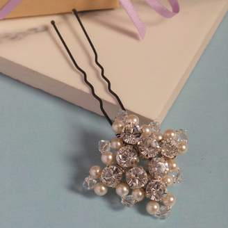 Neve Jewellery Made By Me Crystal And Pearl Square Bridal Hair Pin