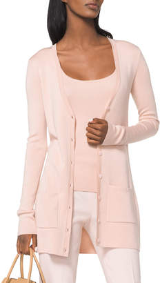 Michael Kors V-Neck Button-Front Tropical Wool/Cashmere Cardigan