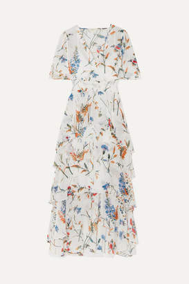 Maje Shirred Floral-print Georgette Midi Dress - White