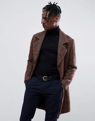 Antony Morato Wool Coat In Brown Check