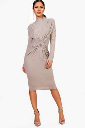 boohoo Rib Knot Front Bodycon Dress