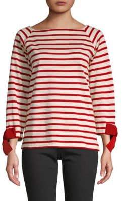 Bow-Cuff Striped T-Shirt
