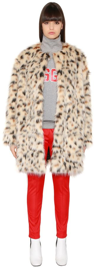 Faux Leopard Fur Coat