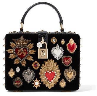 Dolce & Gabbana Dolce Box Watersnake-trimmed Embellished Velvet Tote - Black