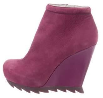 Camilla Skovgaard Leather Wedge Booties Purple Leather Wedge Booties