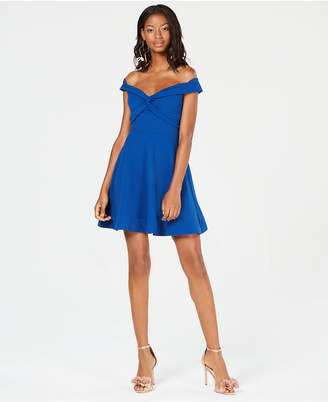 B. Darlin Juniors' Off-The-Shoulder Fit & Flare Dress
