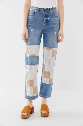 BDG High-Rise Relaxed Straight Jean – Patchwork Denim