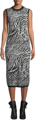 McQ Zebra-Print Sleeveless Tube Dress