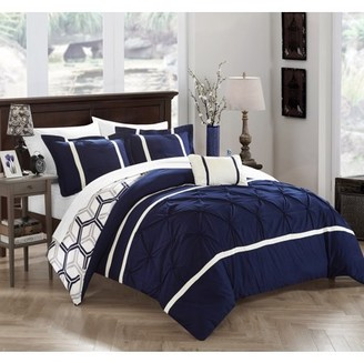 Chic Home 8-Piece Avee Pinch Pleated Ruffled and Reversible Geometric Design Printed Full/Queen Bed In a Bag Comforter Set Navy With sheet set