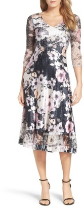 Petite Women's Komarov Print Lace & Charmeuse Dress $308 thestylecure.com