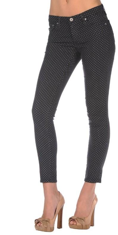 AG Jeans Legging Ankle Jean in Polka Dot Black