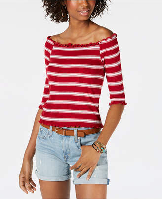 Hippie Rose Juniors' Striped Off-The-Shoulder Top