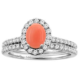 Sabrina Silver 14K White Gold Diamond Halo Natural Coral 2pc Engagement Ring Set Oval 7x5 mm, size 7