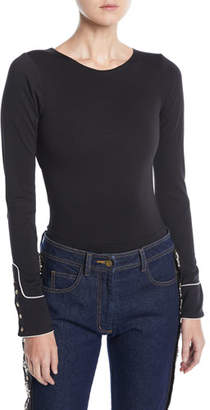 Johanna Ortiz Crewneck Long-Sleeve Bodysuit w/ Western Piping