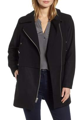 Andrew Marc Melton Asymmetrical Zip Coat