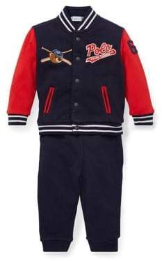 Ralph Lauren Childrenswear Baby Boy's Two-Piece Cotton French Terry Baseball Jacket Pants Set