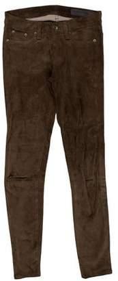 Rag & Bone Suede Mid-Rise Skinny Pants