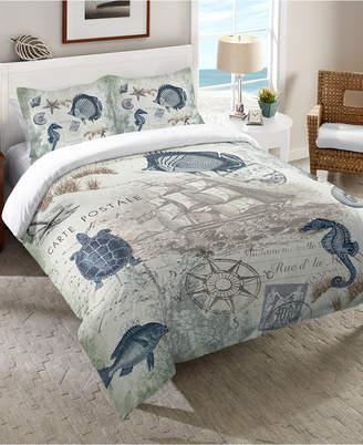 Laural Home Seaside Postcard Queen Comforter Bedding