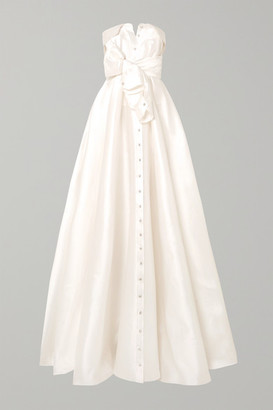 Alexis Mabille Bow-detailed Embellished Satin-twill Gown - White