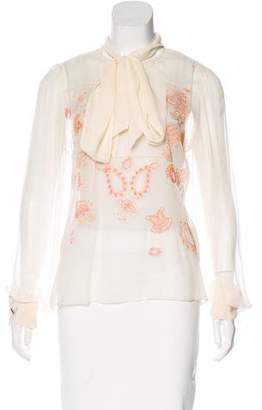 Prabal Gurung Embroidered Silk Top