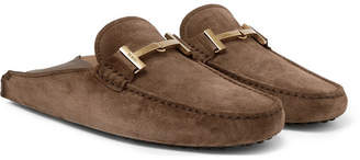 Tod's Gommino Collapsible-Heel Nubuck and Leather Driving Shoes - Men - Brown