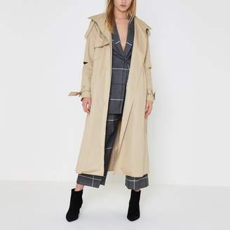 River Island Womens Beige deconstructed sleeve long trench coat