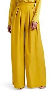 Martin Grant Women's Pleated Silk Wide-Leg Trousers - Yellow