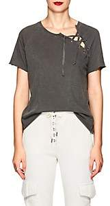 NSF Women's Lace-Up Cotton T-Shirt-Gray