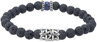 FINE JEWELRY Mens Black Bead and Stainless Steel Bracelet