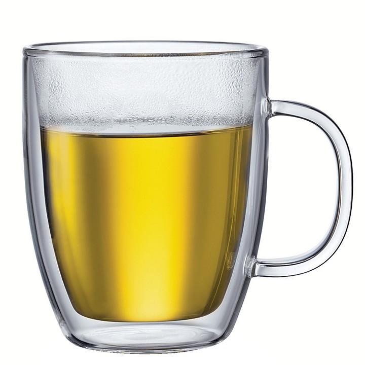 "Bodum Bistro"" Double-Wall Large Glass Mugs, Set of 2"