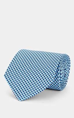 Salvatore Ferragamo Men's Heart-Print Silk Twill Necktie - Blue