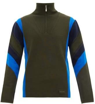 Joseph Zip Neck Striped Wool Sweater - Mens - Khaki